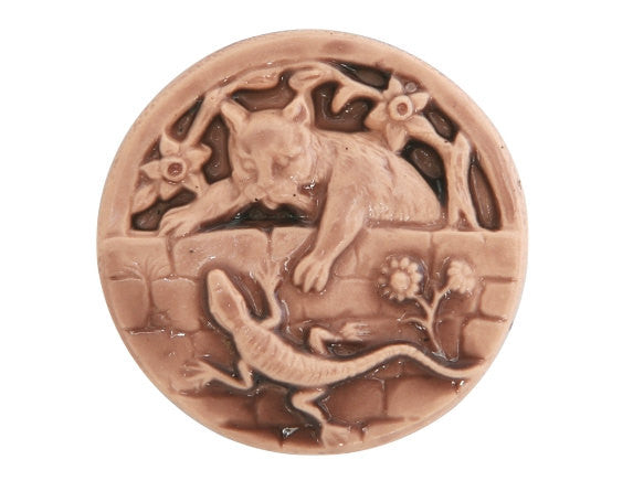 Susan Clarke Kitty and Lizard LargeArt Stone Button Peach Color