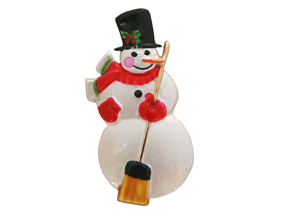 Susan Clarke Snowman Large Metal Button White Color