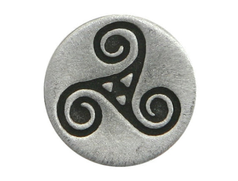 TreasureCast Small Celtic Triple Spiral Triskele 9/16 inch Pewter Button Antique Silver Color