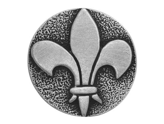 TreasureCast Raised Fleur de Lys 1 inch Pewter Button Antique Silver Color