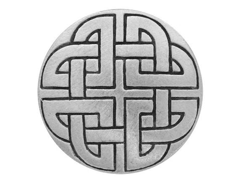 TreasureCast Large Celtic Knot 1 and 3/8 inch Pewter Button Antique Silver Color   Silver Color