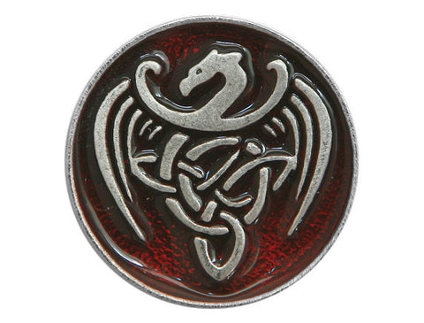 TreasureCast Celtic Dragon<br> 13/16 inch Pewter Button<br> Silver / Red Color
