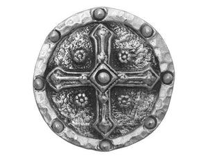 TreasureCast Shield Cross 1 and 5/16 inch Pewter Button Antique Silver Color