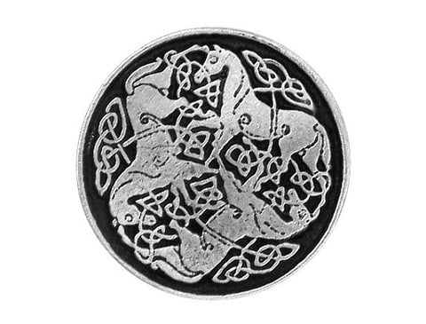TreasureCast Epona Celtic Horses 3/4 inch Pewter Button Antique Silver Color