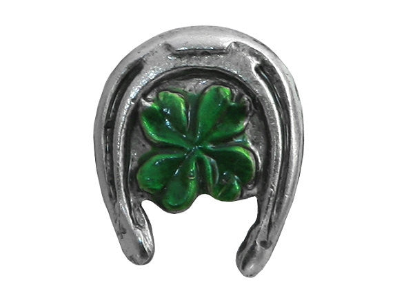 Susan Clarke Tiny Lucky Horseshoe 7/16 inch Metal Button Silver / Green Color