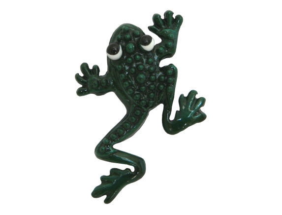Susan Clarke Jumping Frog 7/8 inch Metal Button Green Color