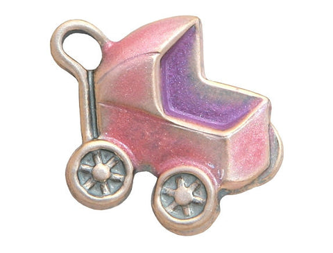 Susan Clarke Baby Buggy Large Metal Button Light Pink Color