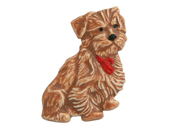 Susan Clarke Brown Dog Large Metal Button Brown Color