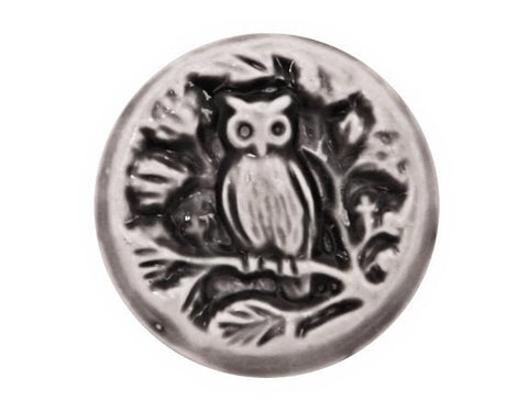 Susan Clarke Owl 3/4 inch Art Stone Button Midnight Color