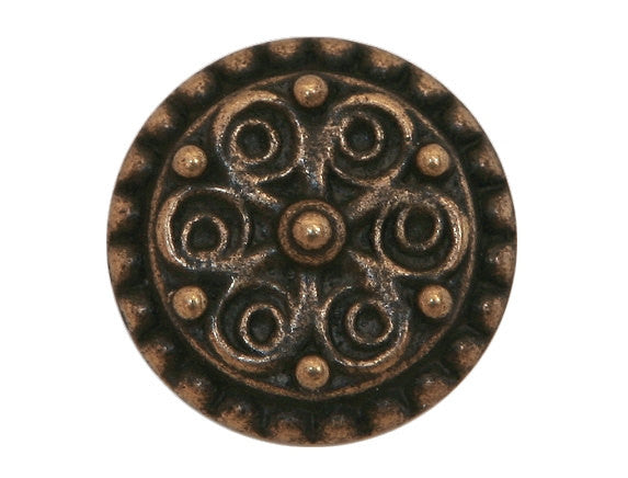 Floral Points 3/4 inch Metal Button Antique Brass Color