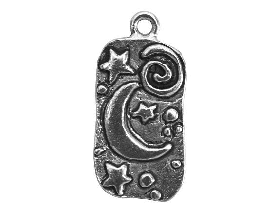 Moon and Stars 1 inch Pewter Pendant Antique Silver Color