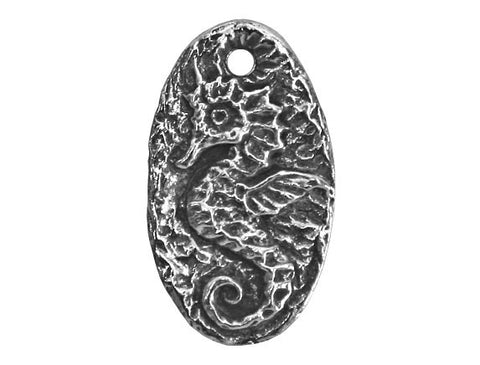 Green Girl Seahorse 13/16 inch Pewter Charm Antique Silver Color