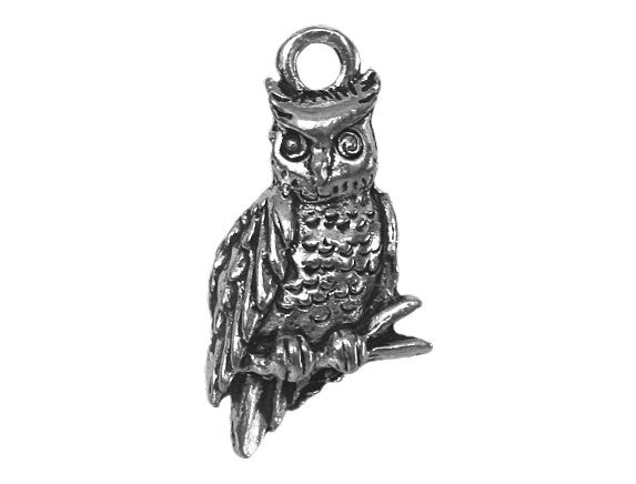 Owl 7/8 inch Pewter Pendant Antique Silver Color