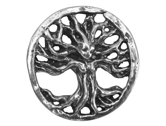 Green Girl Filigree Tree 1 inch Pewter Pendant Antique Silver Color