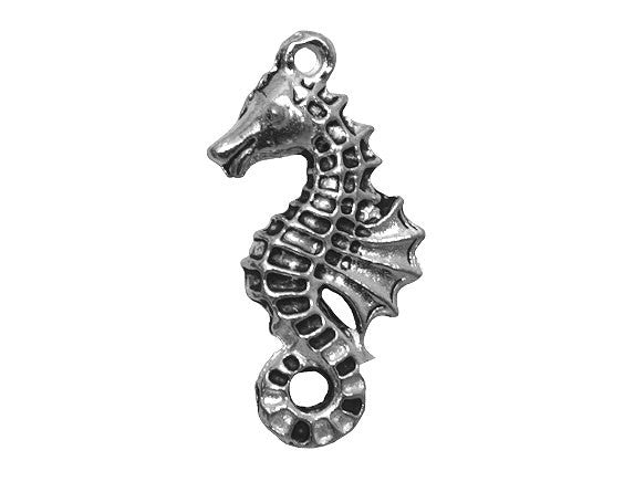 Seahorse 7/8 inch Pewter Pendant Antique Silver Color
