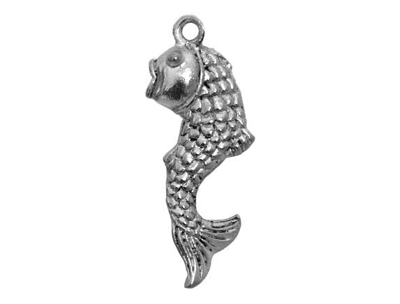 Dancing Fish 7/8 inch Pewter Pendant Antique Silver Color