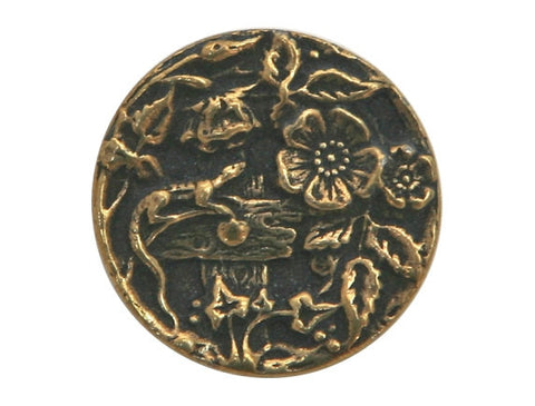 Susan Clarke Garden Lizard 5/8 inch Metal Button Antique Brass Color