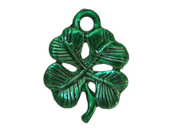 Lucky Shamrock 5/8 inch Green Pewter Charm Green Color