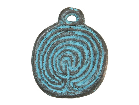 Mykonos Labyrinth Disc 1 inch Metal Pendant Copper / Green Patina