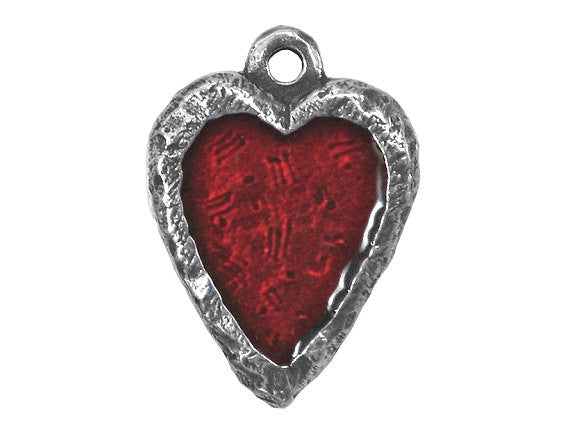 Danforth Crimson Heart 3/4 inch Pewter Charm