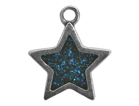 Danforth Blue Star 7/8 inch Pewter Pendant