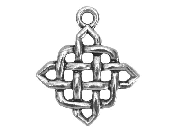 Celtic Diamond 1 inch Pewter Pendant Antique Silver Color