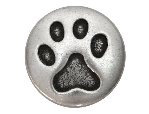 Cat Paw 3/4 inch Metal Button Antique Silver Color