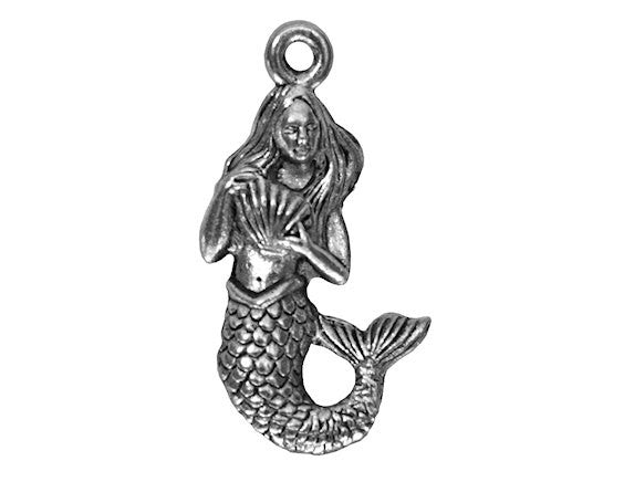 Mermaid with Shell 7/8 inch Pewter Pendant Antique Silver Color