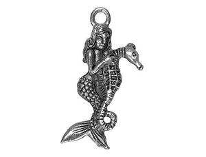 Mermaid Riding Seahorse Large Pewter Pendant Antique Silver Color