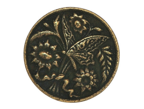 Susan Clarke Butterfly and Sunflowers 13/16 inch Metal Button Antique Brass Color