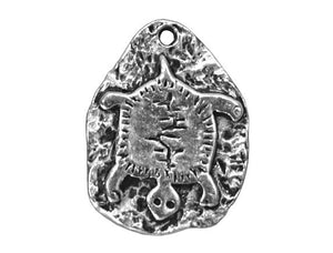 Petroglyph Turtle 5/8 inch Pewter Charm Antique Silver Color