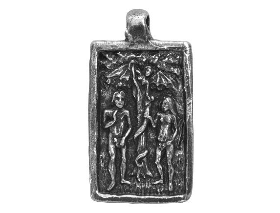 Green Girl Adam-Eve Large Pewter Pendant Antique Silver Color