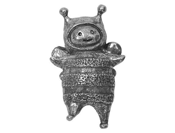 Green Girl Bumble Friend Large Pewter Pendant Antique Silver Color