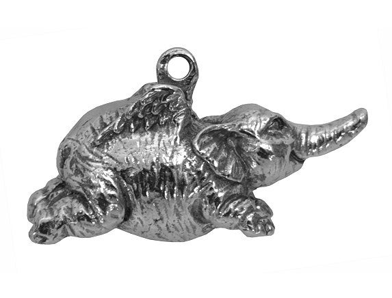 Green Girl Flying Elephant Large Pewter Pendant Antique Silver Color