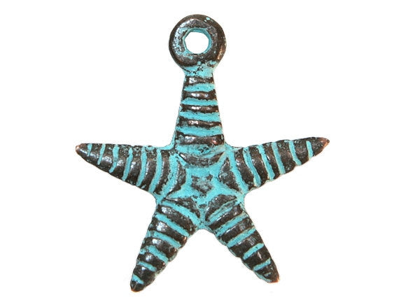 Mykonos Starfish 1 inch Metal Pendant Copper / Green Patina