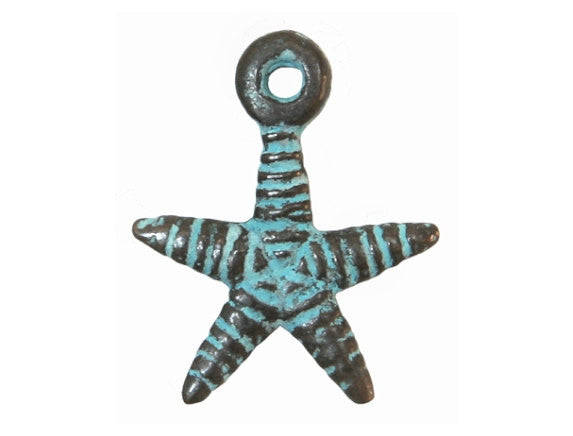 Mykonos Small Starfish 3/4 inch Metal Charm Copper / Green Patina