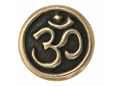 TierraCast Om Symbol 5/8 inch Pewter Button Brass Color