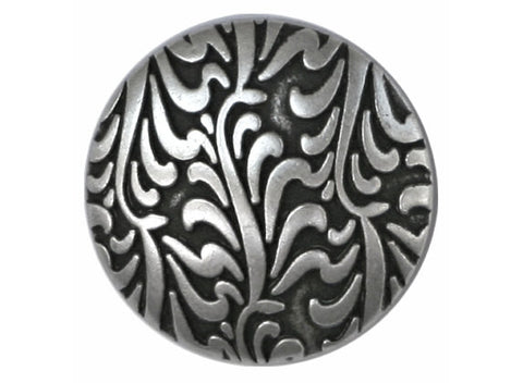 Fronds 7/8 inch Metal Button Antique Silver Color
