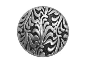Fronds 3/4 inch Metal Button Antique Silver Color