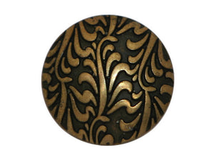 Fronds 3/4 inch Metal Button Antique Brass Color