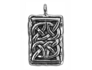 Celtic Rectangle 15/16 inch Pewter Pendant Antique Silver Color