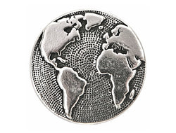 TierraCast Earth<br> 5/8 inch Pewter Button<br> Silver Plated
