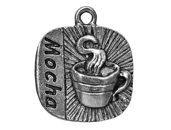 Mocha Coffee 3/4 inch Pewter Charm Antique Silver Colors