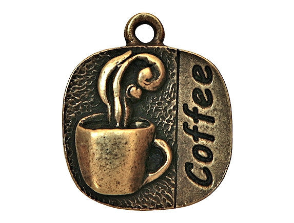 Coffee 3/4 inch Pewter Charm Antique Brass Color