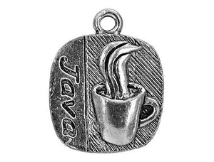 Java Coffee 3/4 inch Pewter Charm Antique Silver Color