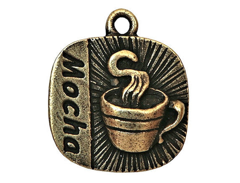 Mocha Coffee 3/4 inch Pewter Charms Antique Brass Color