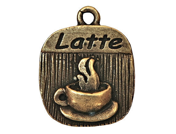 Latte Coffee 3/4 inch Pewter Charm Antique Brass Color
