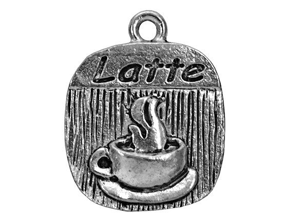 Latte Coffee 3/4 inch Pewter Charm Antique Silver Color