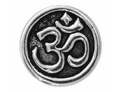 TierraCast Om Symbol 5/8 inch Pewter Button Silver Plated