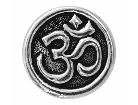 TierraCast Om Symbol<br> 5/8 inch Pewter Button<br> Silver Plated